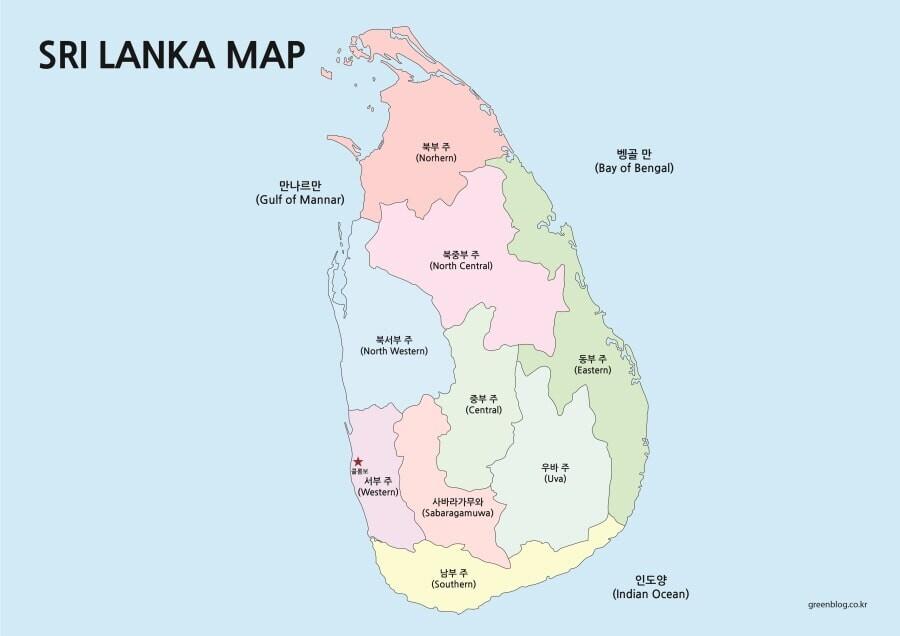 스리랑카 지도