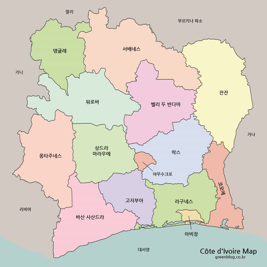 코트디부아르 지도 고화질