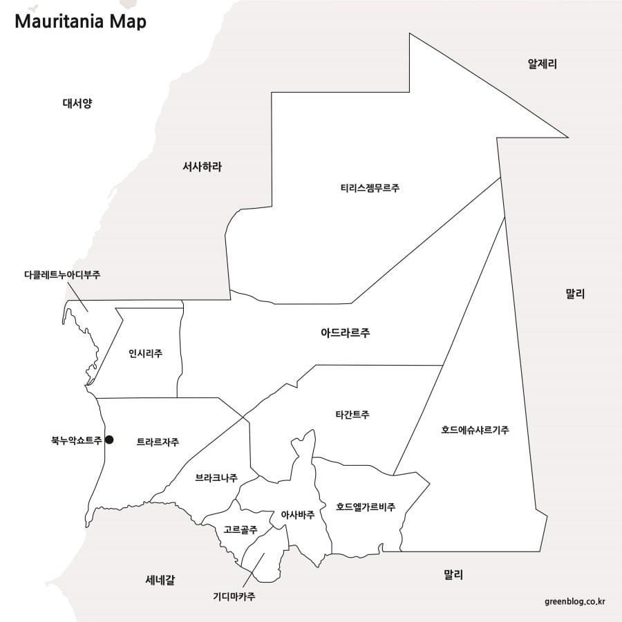 모리타니 지도