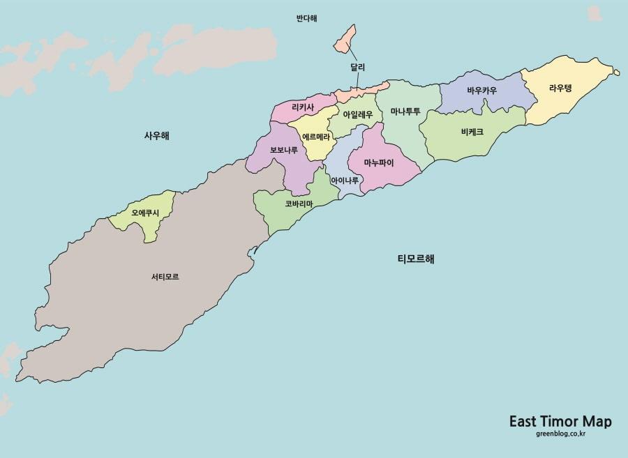 동티모르 지도